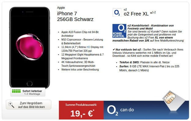 iPhone 7 + o2 Free XL LogiTel