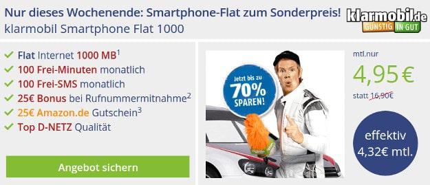 klarmobil Smartphone Flat Vodafone Amazon Gutschein
