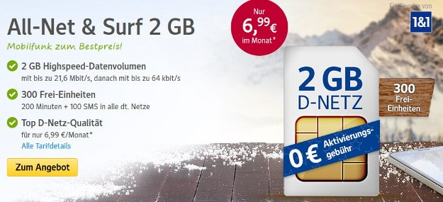 1&1 All-Net & Surf 2 GB
