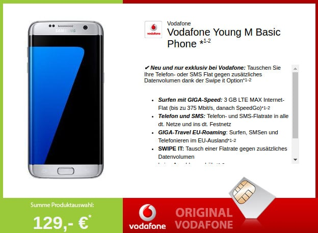 Galaxy S7 + Vodafone Young M