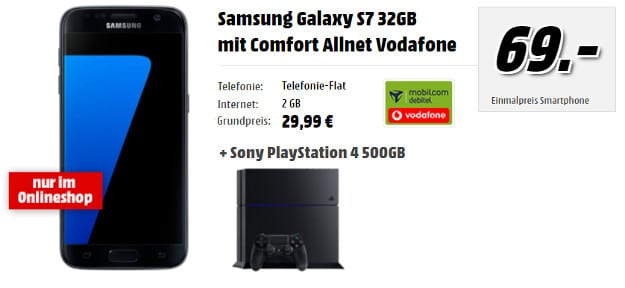 Samsung Galaxy S7 + Vodafone Comfort Allnet (md) + Playstation