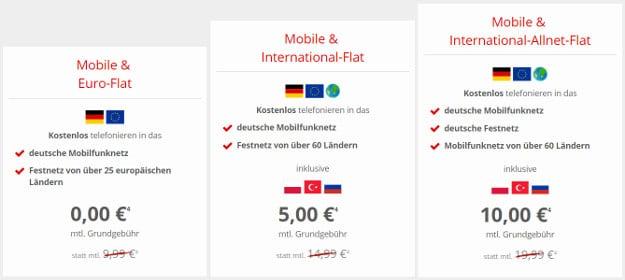 Vodafone GigaKombi Auslandspakete