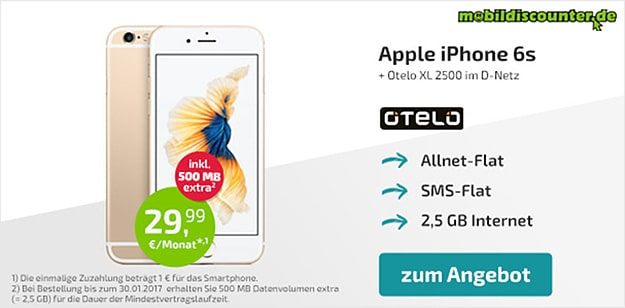 iPhone 6s + otelo Allnet-Flat XL