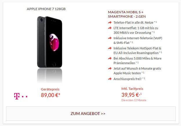 iPhone 7 + Magenta Mobil S