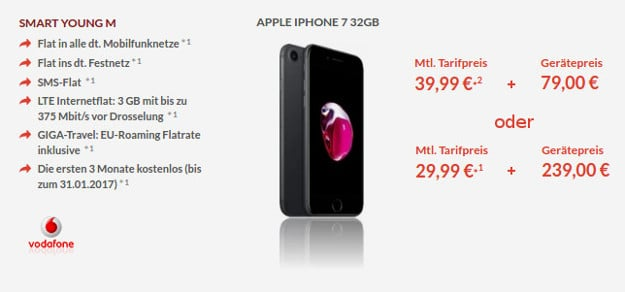 iPhone 7 + Vodafone Smart Young M