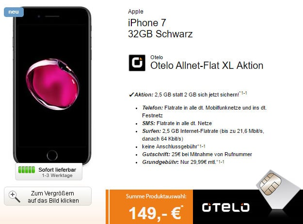 iPhone 7 + otelo Allnet-Flat XL