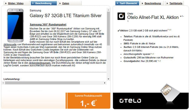 Galaxy S7 Rundumpaket + otelo Allnet-Flat XL