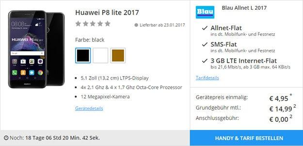 Huawei P8 Lite + Blau Allnet L