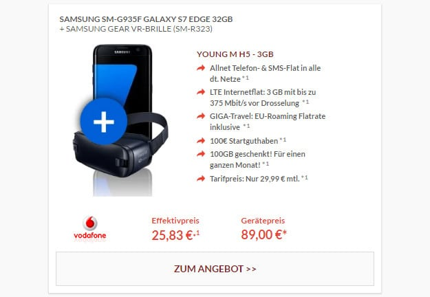 Samsung Galaxy S7 + Vodafone Young M + Gear VR
