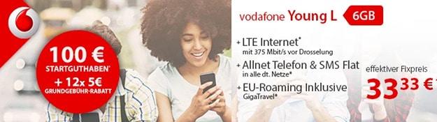 Vodafone Young L mit 100 € Startguthaben