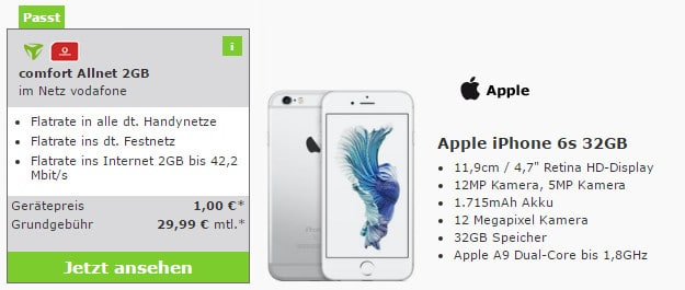 iPhone 6s + Vodafone Comfort Allnet (md)