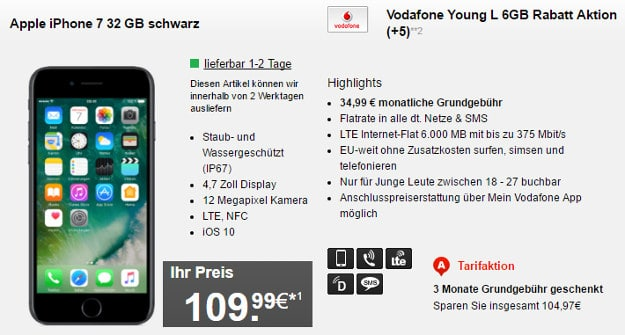 iPhone 7 + Vodafone Young L Hf