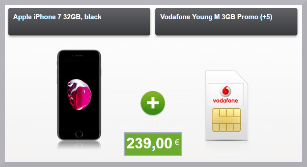 iphone 7 32gb + vodafone young m