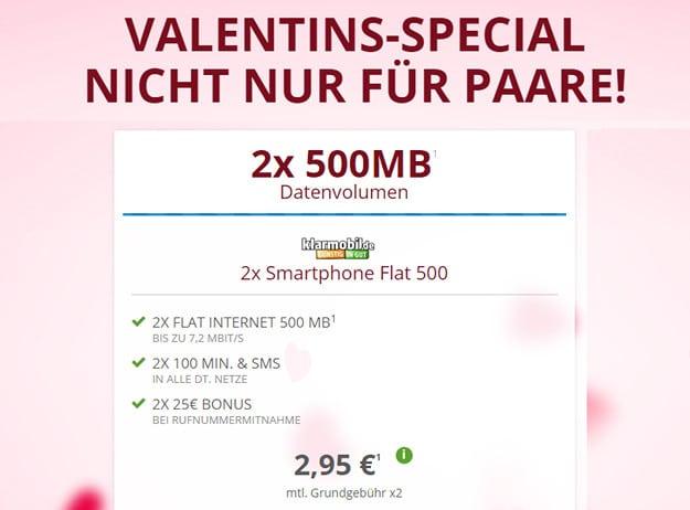 klarmobil Smartphone Flat 500 Valentins-Special
