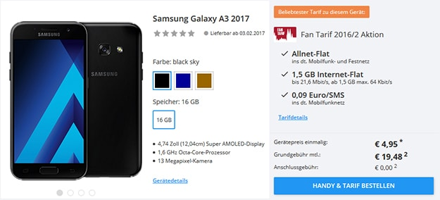 samsung galaxy a3 2017 fan tarif