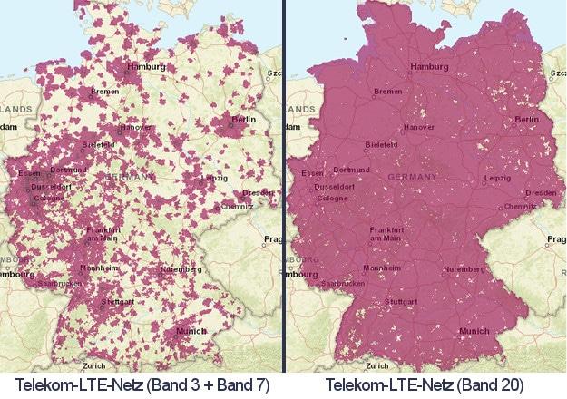 LTE-Bänder im Telekom-Netz