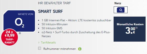 o2 Samrt Surf für 3 Euro