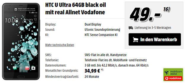 HTC U Ultra + Vodafone real Allnet (md)