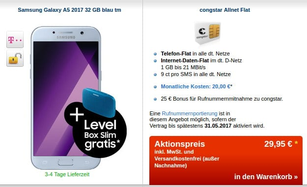 Samsung Galaxy A5 (2017) + congstar Allnet-Flat