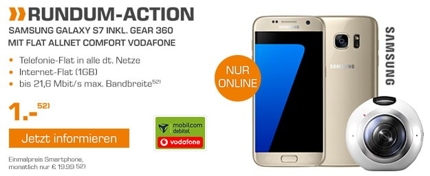 Samsung Galaxy s7 + Gear 360 + Vodafone Flat Allnet Comfort (md)