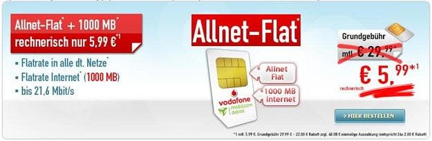 Vodafone Flat Allnet Comfort (md) Handybude Aktion