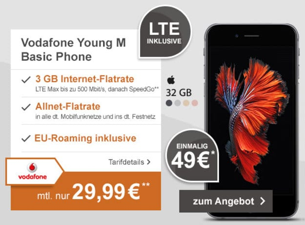iPhone 6s + Vodafone Young M