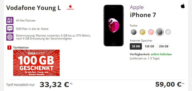 iPhone 7 + Vodafone Young L Ttw Aktion
