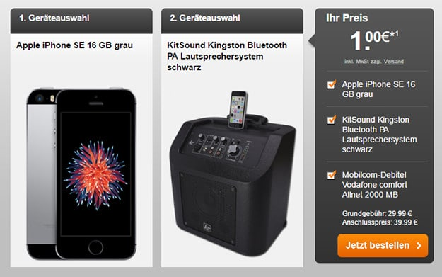 iPhone SE + Vodafone Comfort Allnet (md) + Bluetooth-Box