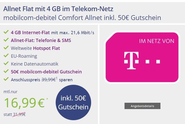 Telekom Comfort Allnet (md) für 16,99 € im Monat (Allnet-Flat, 4 GB, Telekom-Netz)