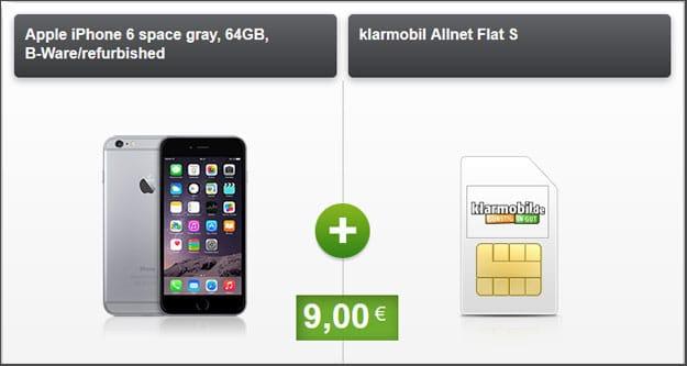 apple iphone 6 klarmobil allnet flat telekom f r eff 4 61 mtl. Black Bedroom Furniture Sets. Home Design Ideas