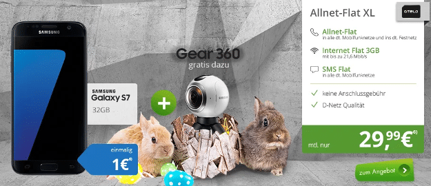 samsung galaxy s7 + gear 360 kamera + otelo allnet flat xl