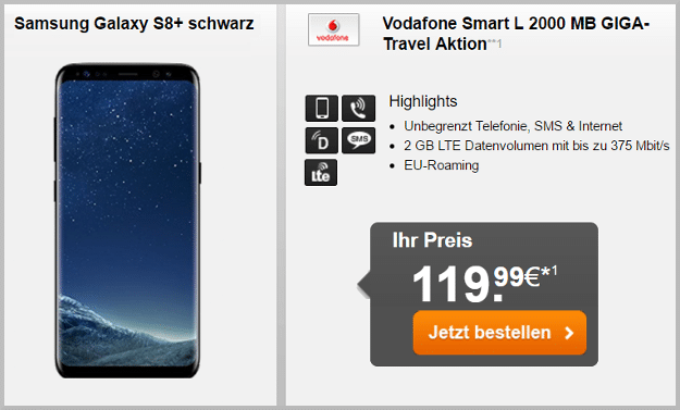 samsung galaxy s8 plus + vodafone smart l