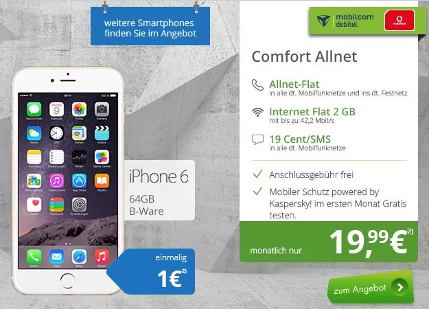 IPhone 6 (B-Ware) + Vodafone Comfort Allnet (md)