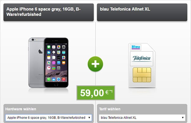 iphone 6 b ware + blau allnet xl