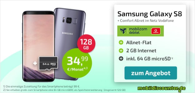 samsung galaxy s8 + vodafone comfort allnet md