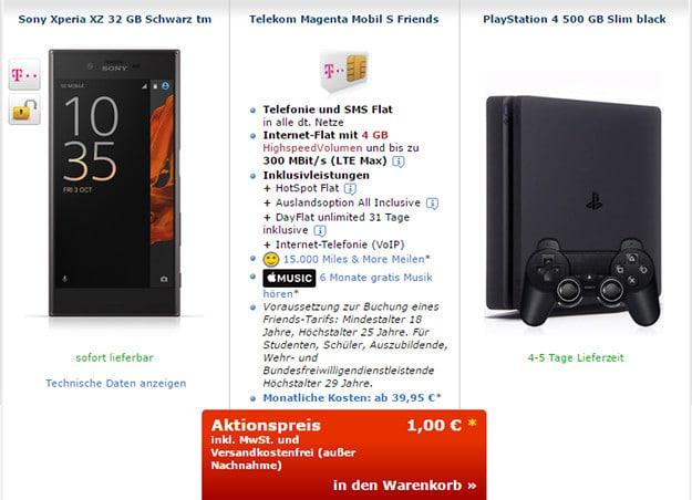 sony xperia xz + telekom magenta mobil s friends
