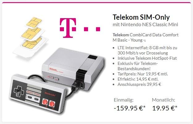 Telekom CombiCard Data Comfort M Young + Nintendo NES Classic Mini bei Preisboerse24