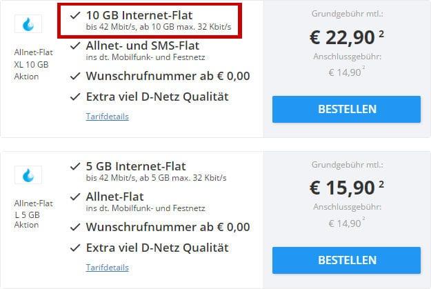 Sparhandy Allnet-Flat 10GB