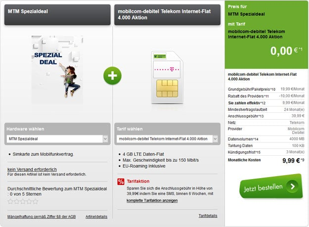 Telekom Datentarif 4GB LTE