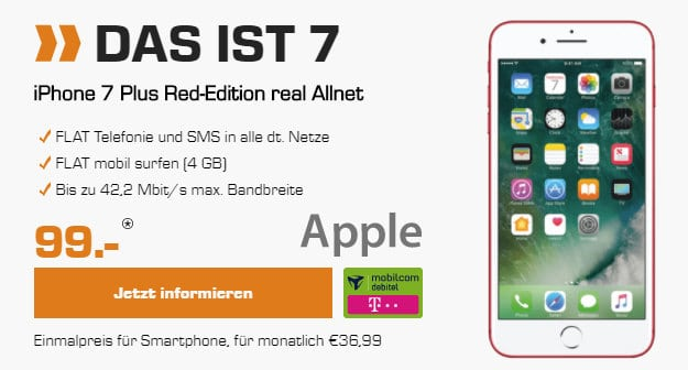 iPhone 7 Plus + real Allnet Telekom (md)
