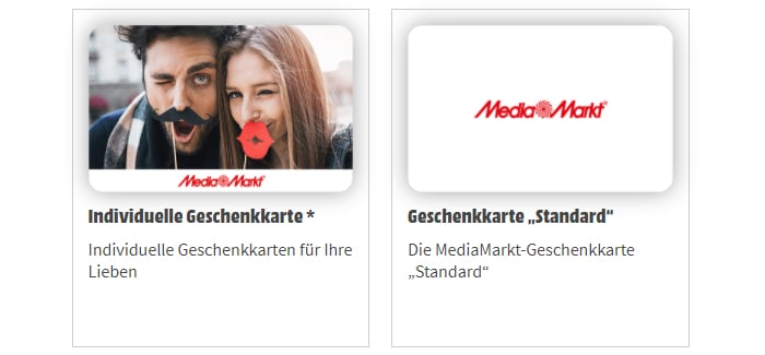 MediaMarkt Geschenkkarte - individuell oder standard