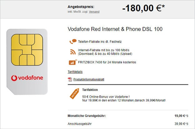 Vodafone Red Internet Phone Dsl Flat Eff Ab 1536 Mtl