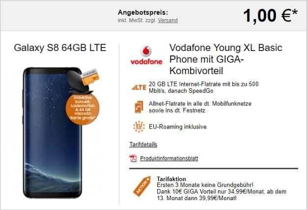 Galaxy S8 + Vodafone Young XL