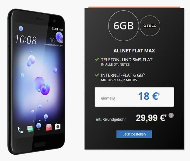 HTC U11 + otelo Allnet-Flat Max