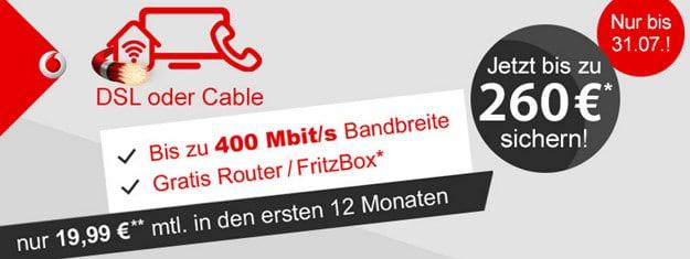 Vodafone DSL LogiTel mit 260 Euro Cashback