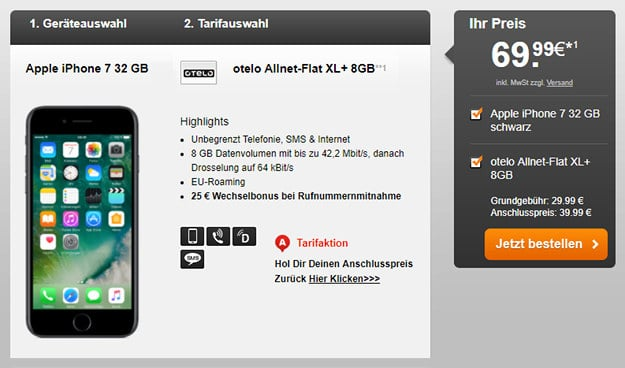 iPhone 7 + otelo Allnet Flat XL Plus Handyflash