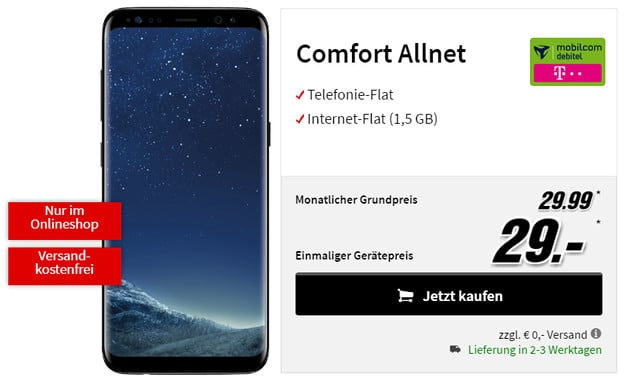 galaxy s8 mobilcom debitel comfort allnet telekom. Black Bedroom Furniture Sets. Home Design Ideas