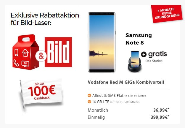 Samsung Galaxy Note 8 + Vodafone Red M