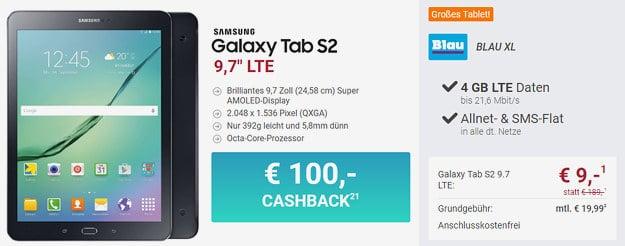 Samsung Galaxy Tab S2 + Blau Allnet XL