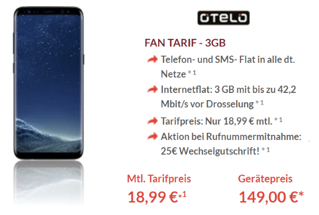 Galaxy S8 mit otelo Fan-Tarif